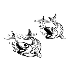 Cute fish about to be caught on a fishing line vector image vector image