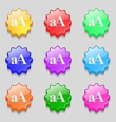 Enlarge font aa icon sign symbol on nine wavy vector