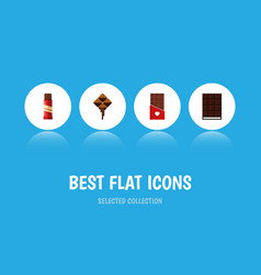 Flat icon cacao set of chocolate sweet delicious vector