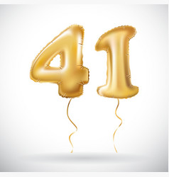 Golden 41 number forty one metallic balloon party vector