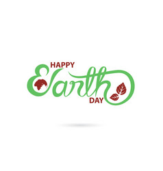 green happy earth day typographical design vector image vector image