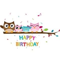 Happy owl family celebrate birthday vector