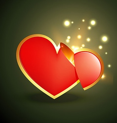 Heart with glow rays vector