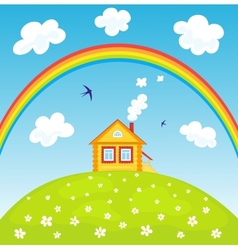 House and rainbow vector image
