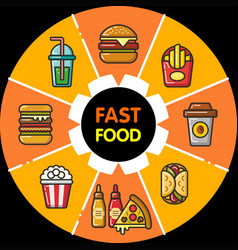 infographic food icons fast food vector image vector image