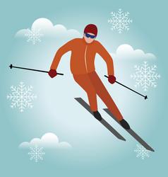 Isometric isolated man skiier urban style vector