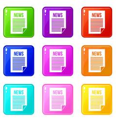 news newspaper set 9 vector image