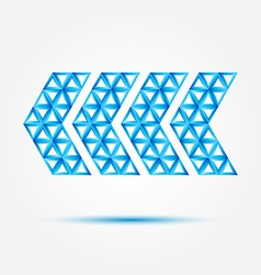 Pointer icon made with triangles - blue abstract vector image