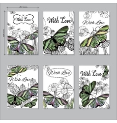 Set hand floral card a6 with butterfly hand drawn vector