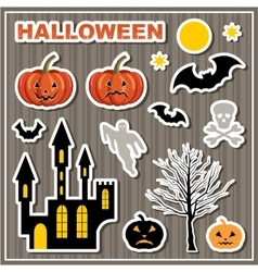 Set of stickers halloween lock bats pumpkin vector