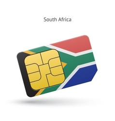 South africa mobile phone sim card with flag vector