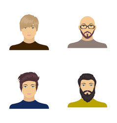 The face of a bald man with glasses and a beard a vector