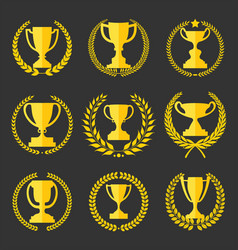 Trophy and awards retro vintage collection 2 vector