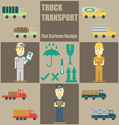 Truck Transport People Flat Cartoon vector image vector image