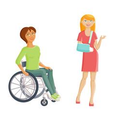 women with disabilities - broken arm and vector image vector image