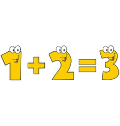 Yellow Number 1 Plus Number 2 vector image