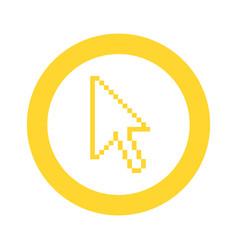 Yellow symbol pixel cursor icon vector