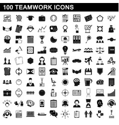 100 teamwork icons set simple style vector image