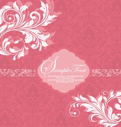 Damask invitation vintage card with floral element vector