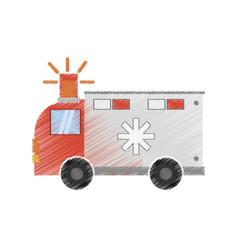 Drawing ambulance transport emergency vector