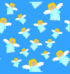 New year angels in blue dresses seamless pattern vector