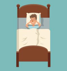 cartoon man sleep lying in bed vector image