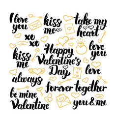 Valentine day hand drawn lettering vector