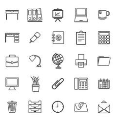 Workspace line icons on white background vector