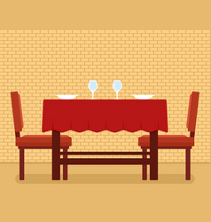 Kitchen interior with kitchen table and chair on vector