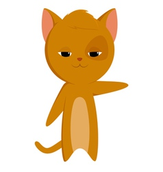 Cartoon cat with pointed paw vector