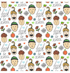 back to school sketched seamless pattern with vector image