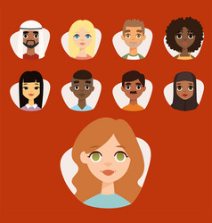 Set of diverse round avatars with facial features vector