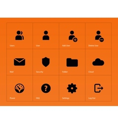 User account icons on orange background vector