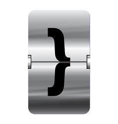 Alphabet silver flipboard letters curly brackets vector image