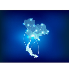 Thailand country map polygonal with spot lights vector