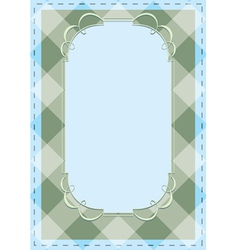 Checkered background with tracery frame vector