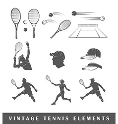 Set tennis silhouettes vector image