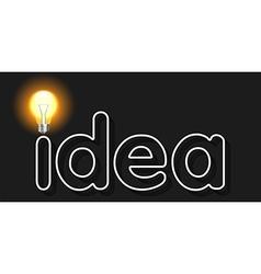 idea word with light bulb as concept of idea vector image