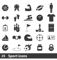 25 sport simple icons set vector