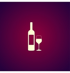 Wine bottle and glass silhouette vector