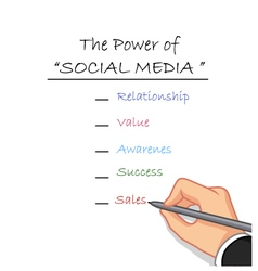 Hand writing the power of social media vector
