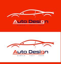 Automotive logo design with sports car vector