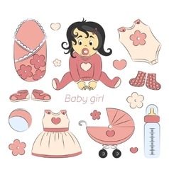 Baby girl design elements vector image vector image