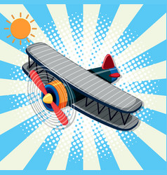 Background design with airplane and sun vector