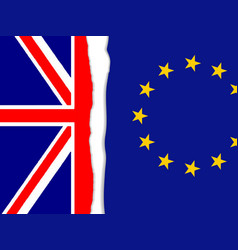 Brexit torn flag vector