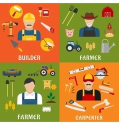 Builder farmer and carpenter icons vector image