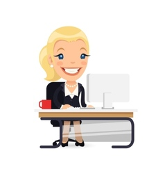 Business Lady at Her Desk vector image