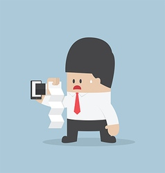 Businessman was shocked by seeing the bill vector image vector image