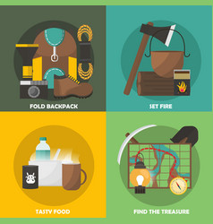 Camping colored compositions vector