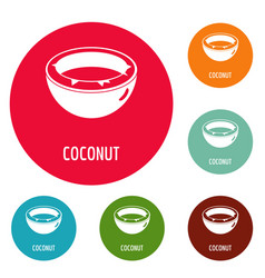 Coconut icons circle set vector
